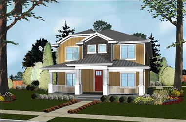 Front elevation of Cottage home (ThePlanCollection: House Plan #100-1287)