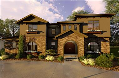Front elevation of Mediterranean home (ThePlanCollection: House Plan #100-1290)