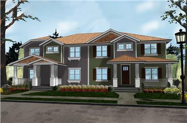 Front elevation of Craftsman home (ThePlanCollection: House Plan #100-1291)