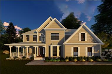 Front elevation of Traditional home (ThePlanCollection: House Plan #100-1293)