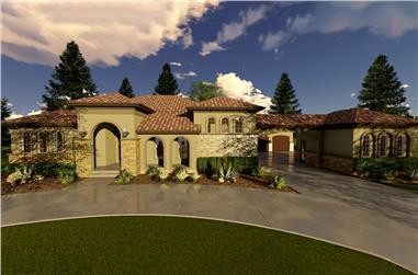 Front elevation of Mediterranean home (ThePlanCollection: House Plan #100-1294)