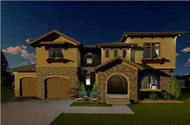 Front elevation of Mediterranean home (ThePlanCollection: House Plan #100-1295)