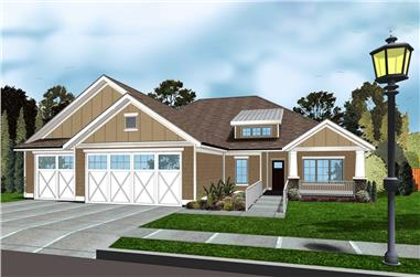 Front elevation of Bungalow home (ThePlanCollection: House Plan #100-1297)