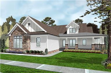 Front elevation of Farmhouse home (ThePlanCollection: House Plan #100-1299)