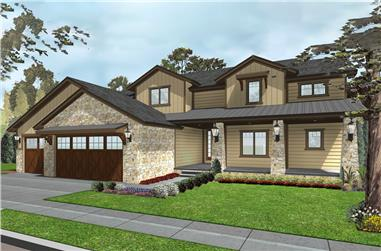 Front elevation of Tuscan home (ThePlanCollection: House Plan #100-1300)