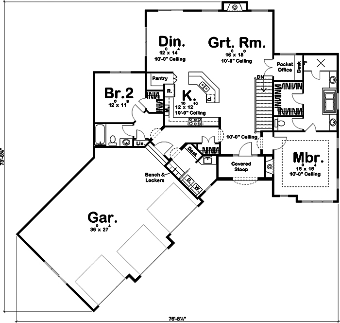 Craftsman Home Plan 2 Bedrms 2 Baths 1904 Sq Ft