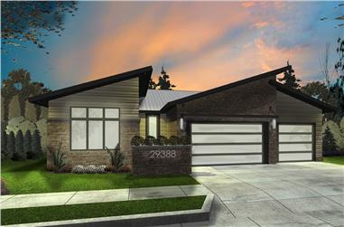3-Bedroom, 2011 Sq Ft Modern House Plan - 100-1303 - Front Exterior
