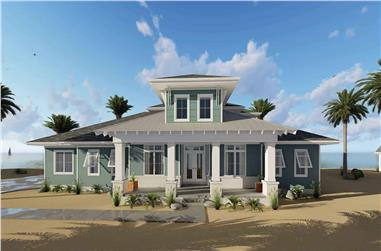 4-Bedroom, 2526 Sq Ft Coastal House Plan - 100-1310 - Front Exterior