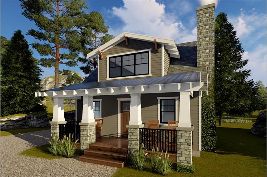 1-Bedroom, 722 Sq Ft Bungalow Home Plan - 100-1317 - Main Exterior