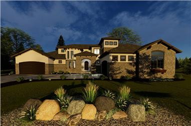 4-Bedroom, 3758 Sq Ft Tuscan Home Plan - 100-1326 - Main Exterior