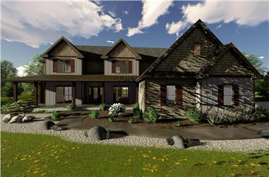 Front elevation of Farmhouse home (ThePlanCollection: House Plan #100-1327)