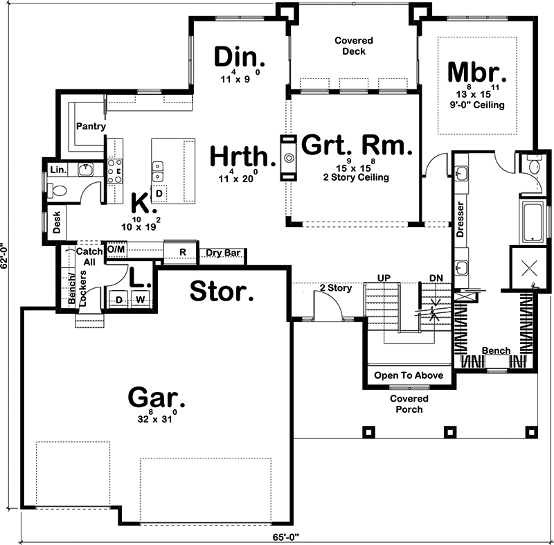 Craftsman home plan 4 bedrms 3 5 baths 3042 sq ft for 100 floors floor 52