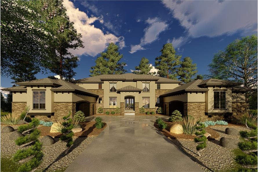 5-Bedroom, 4853 Sq Ft Mediterranean Home Plan - 100-1331 - Main Exterior