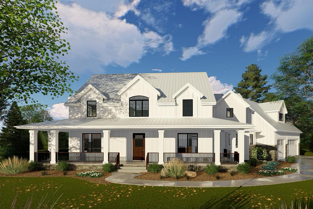 Front elevation of Modern Farmhouse home (ThePlanCollection: House Plan #100-1332)