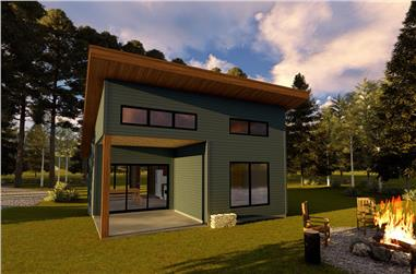 1-Bedroom, 485 Sq Ft Modern House Plan - 100-1335 - Front Exterior