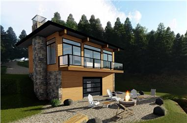 1-Bedroom, 609 Sq Ft Modern House Plan - 100-1337 - Front Exterior
