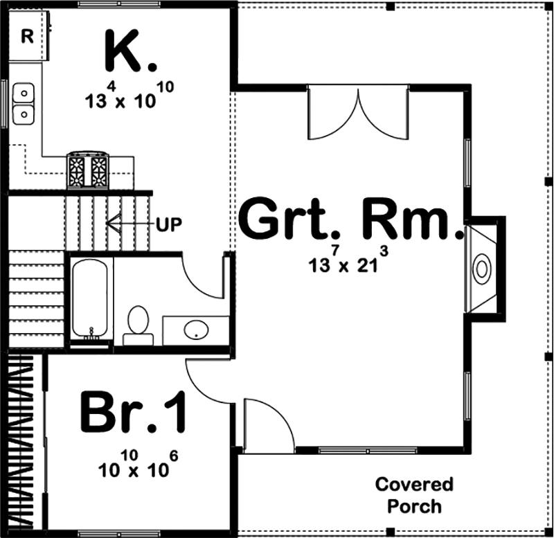 Farmhouse floor plan 1 bedrms 1 baths 989 sq ft for 100 floor 21
