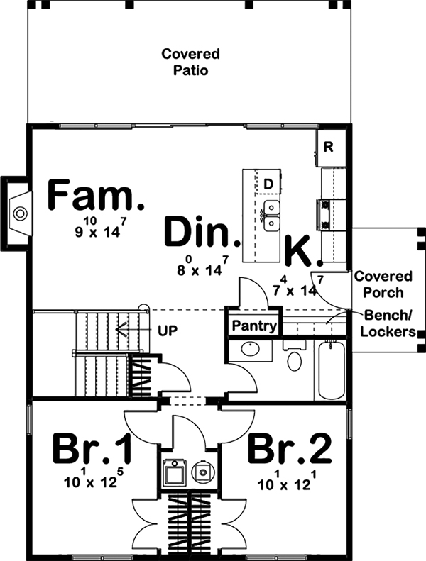 Cottage House Plan 3 Bedrms 1 Baths 1190 Sq Ft 100