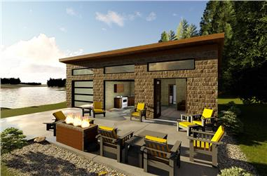 2-Bedroom, 672 Sq Ft Modern Home Plan - 100-1348 - Main Exterior