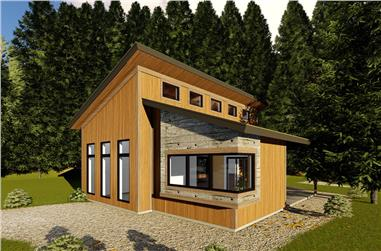 1-Bedroom, 688 Sq Ft Modern Home Plan - 100-1349 - Main Exterior