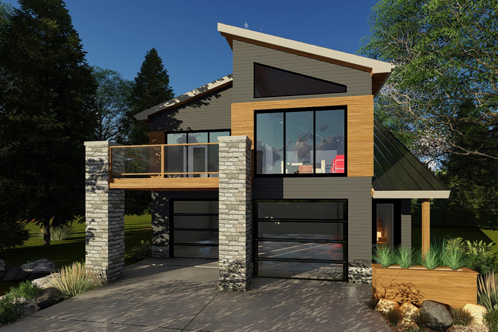 Modern Garage Apartment Plan - 2-Car, 1 Bedroom, 1 Bath ...