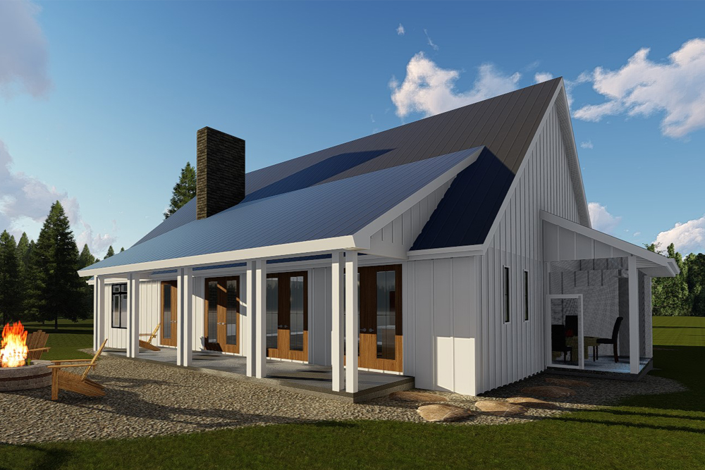 Farmhouse home plan 2 bedrms 2 baths 1900 sq ft for 1900 square foot house plans