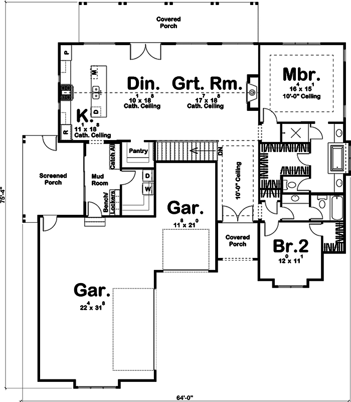 Farmhouse Home Plan 2 Bedrms 2 Baths 1900 Sq Ft