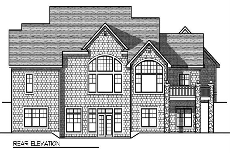 Home Plan Rear Elevation of this 5-Bedroom,4441 Sq Ft Plan -101-1006