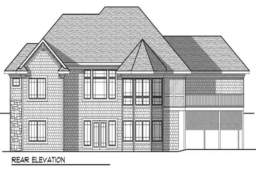 Home Plan Rear Elevation of this 4-Bedroom,3796 Sq Ft Plan -101-1008