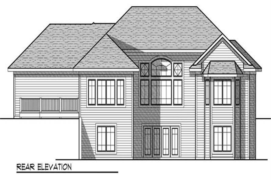 Home Plan Rear Elevation of this 4-Bedroom,3605 Sq Ft Plan -101-1010