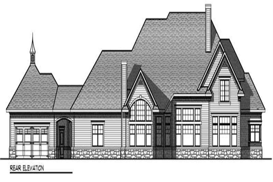 Home Plan Rear Elevation of this 4-Bedroom,4308 Sq Ft Plan -101-1017