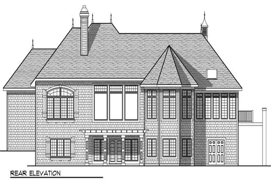 Home Plan Rear Elevation of this 4-Bedroom,5104 Sq Ft Plan -101-1018