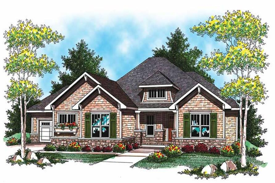 Front elevation of Ranch home (ThePlanCollection: House Plan #101-1023)