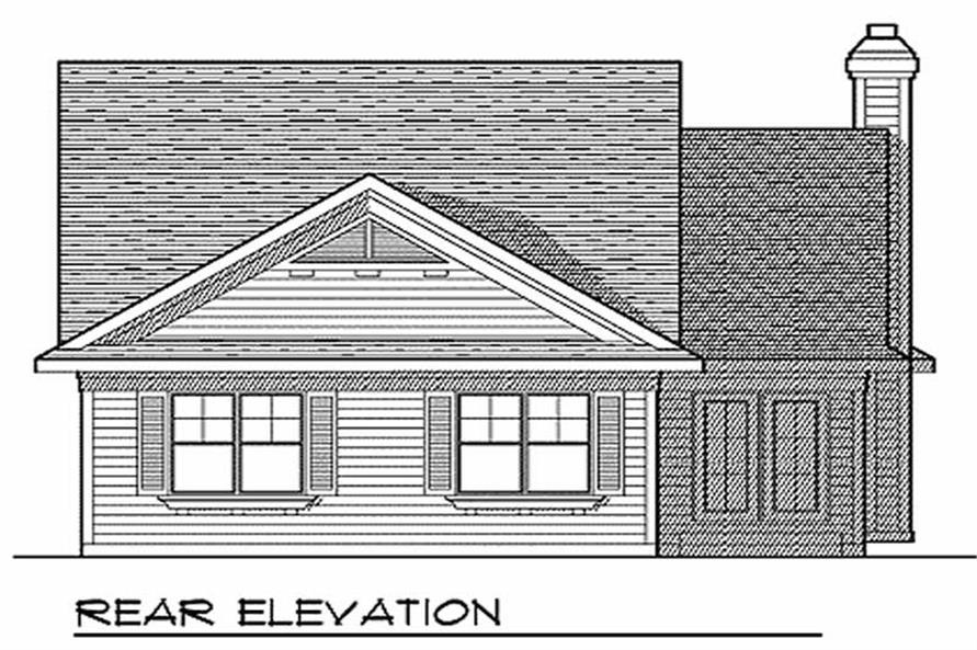 Home Plan Rear Elevation of this 2-Bedroom,1346 Sq Ft Plan -101-1025