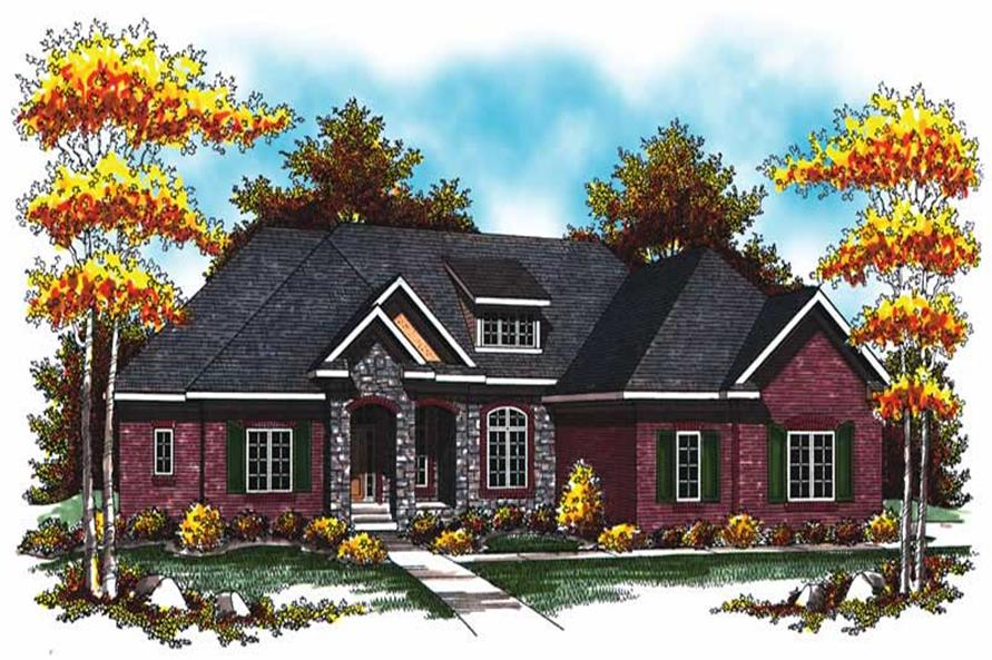 2-Bedroom, 2434 Sq Ft Colonial House Plan - 101-1026 - Front Exterior