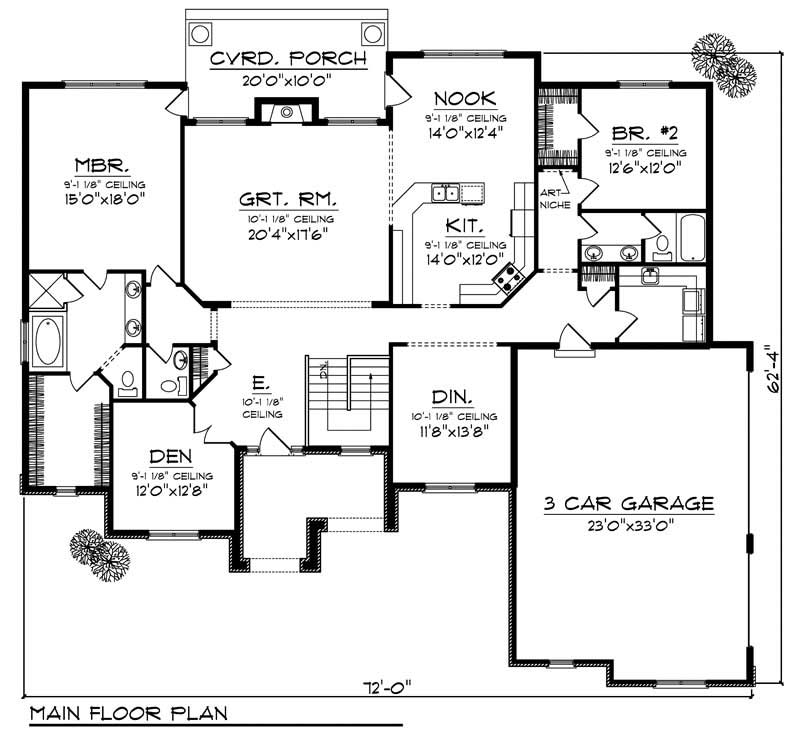 House Design 101: House Plan #101-1026 : 2 Bedroom, 2434 Sq Ft Colonial