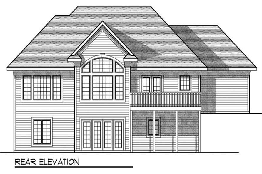 Home Plan Rear Elevation of this 3-Bedroom,2764 Sq Ft Plan -101-1027
