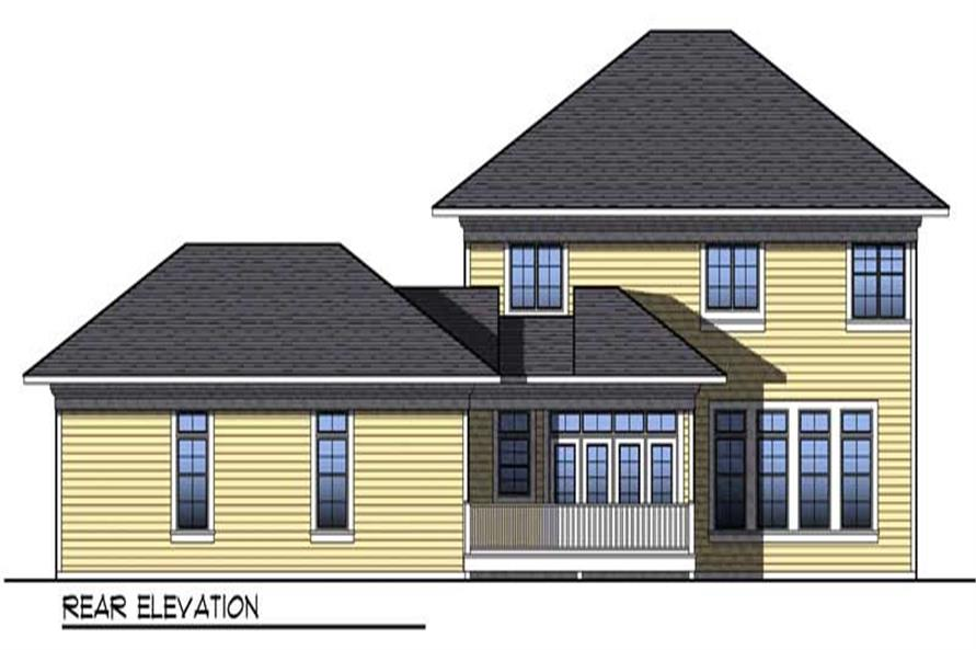 Home Plan Rear Elevation of this 4-Bedroom,3020 Sq Ft Plan -101-1028