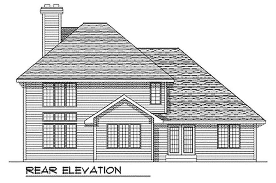 Home Plan Rear Elevation of this 4-Bedroom,2484 Sq Ft Plan -101-1032