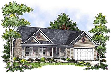 3-Bedroom, 1342 Sq Ft Contemporary House Plan - 101-1036 - Front Exterior