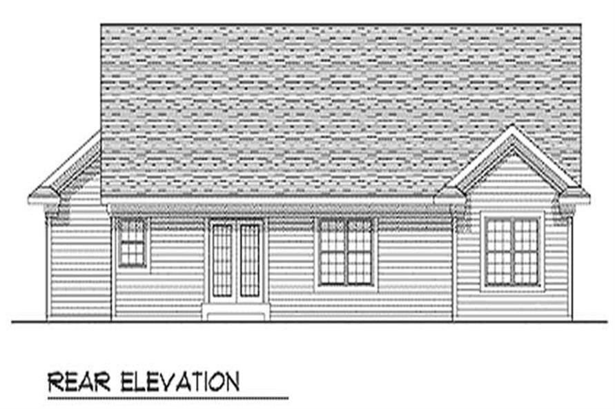 Home Plan Rear Elevation of this 3-Bedroom,1342 Sq Ft Plan -101-1036