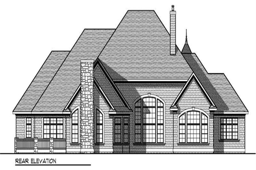 Home Plan Rear Elevation of this 4-Bedroom,5140 Sq Ft Plan -101-1043
