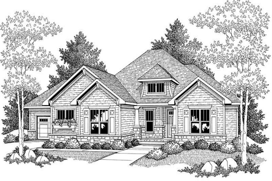 Home Plan Front Elevation of this 4-Bedroom,3634 Sq Ft Plan -101-1047