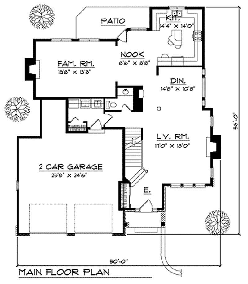 Multi Level Home Plan 3 Bedrms 2 5 Baths 2450 Sq Ft