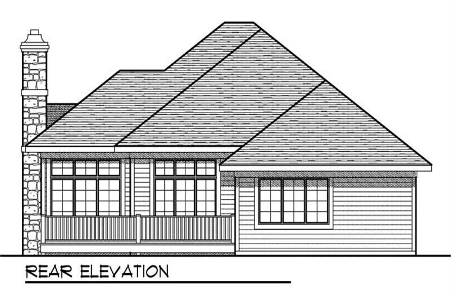 Home Plan Rear Elevation of this 2-Bedroom,1617 Sq Ft Plan -101-1053