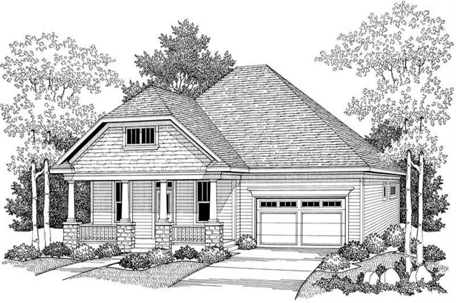 Home Plan Front Elevation of this 2-Bedroom,1772 Sq Ft Plan -101-1055