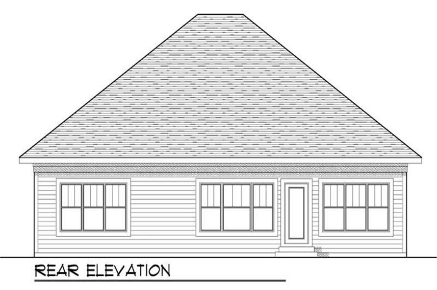 Home Plan Rear Elevation of this 2-Bedroom,1772 Sq Ft Plan -101-1055