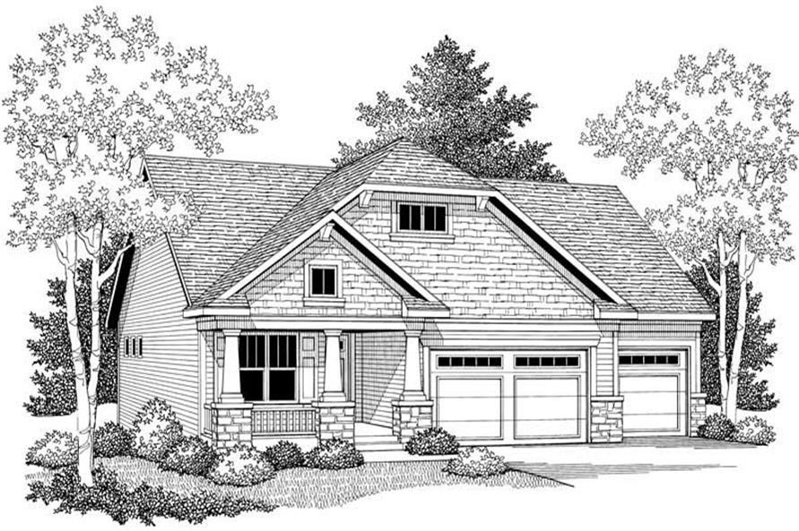 Home Plan Front Elevation of this 3-Bedroom,1752 Sq Ft Plan -101-1058