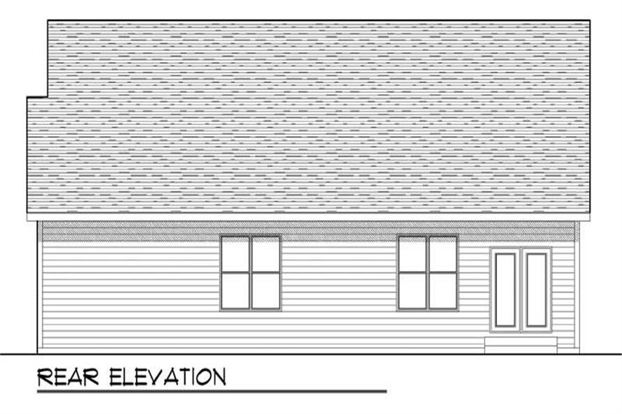 Home Plan Rear Elevation of this 3-Bedroom,1752 Sq Ft Plan -101-1058