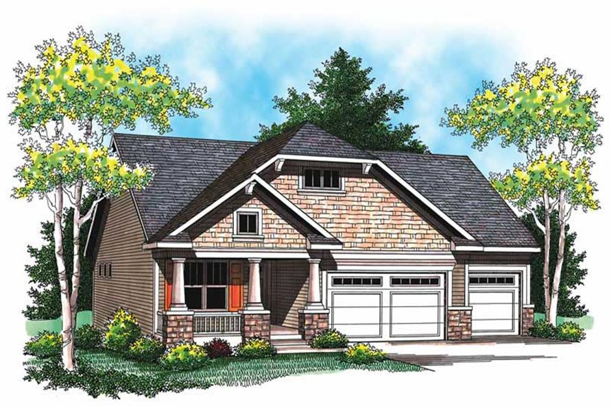 3-Bedroom, 1752 Sq Ft Ranch Home Plan - 101-1058 - Main Exterior